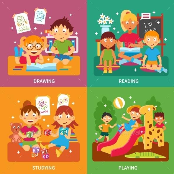 Kindergarten Concept Set - People Characters