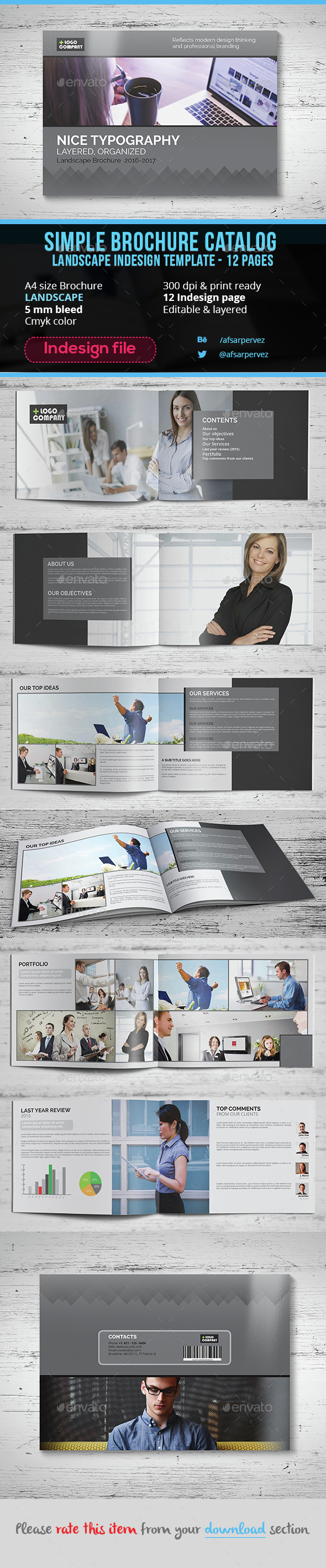 Simple Landscape Brochure Indesign Template – 12 Page  - Brochures Print Templates