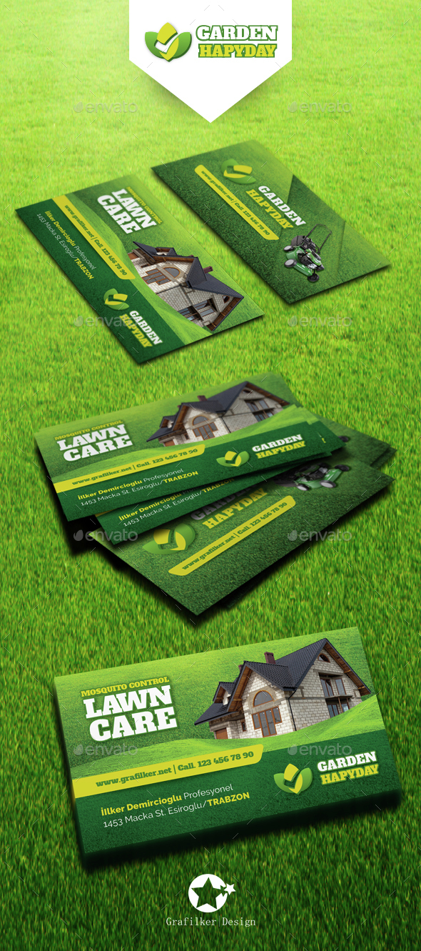 Garden Landscape Business Card Templates by grafilker | GraphicRiver