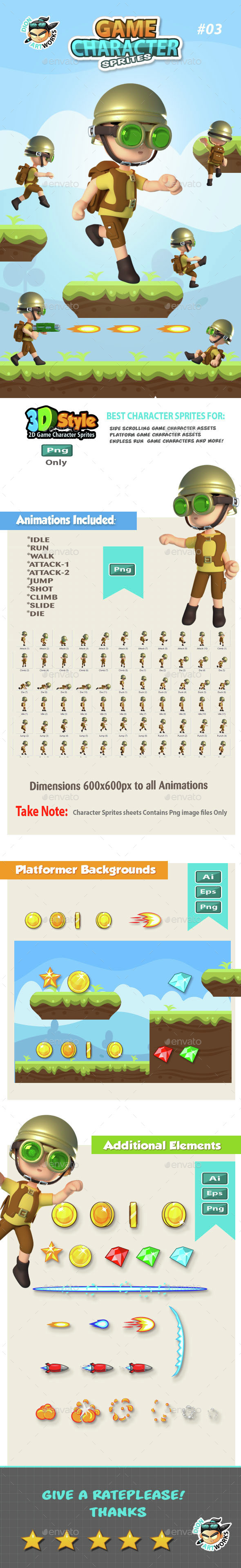 3D Style Game Character Sprites 03 - Sprites Game Assets