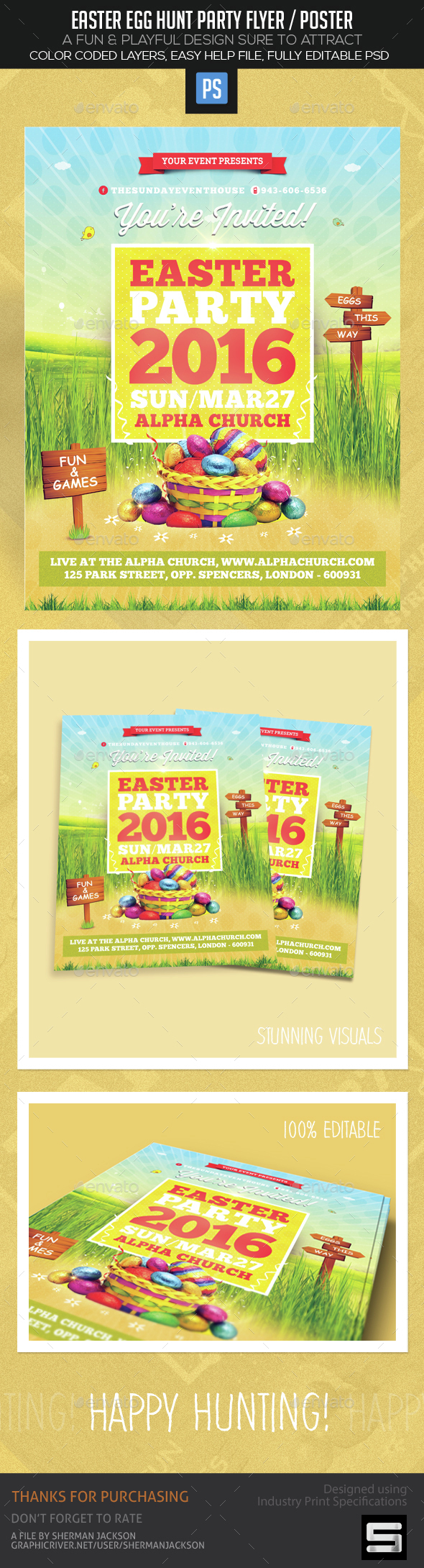 Easter Egg Hunt Party Flyer / Poster - Events Flyers