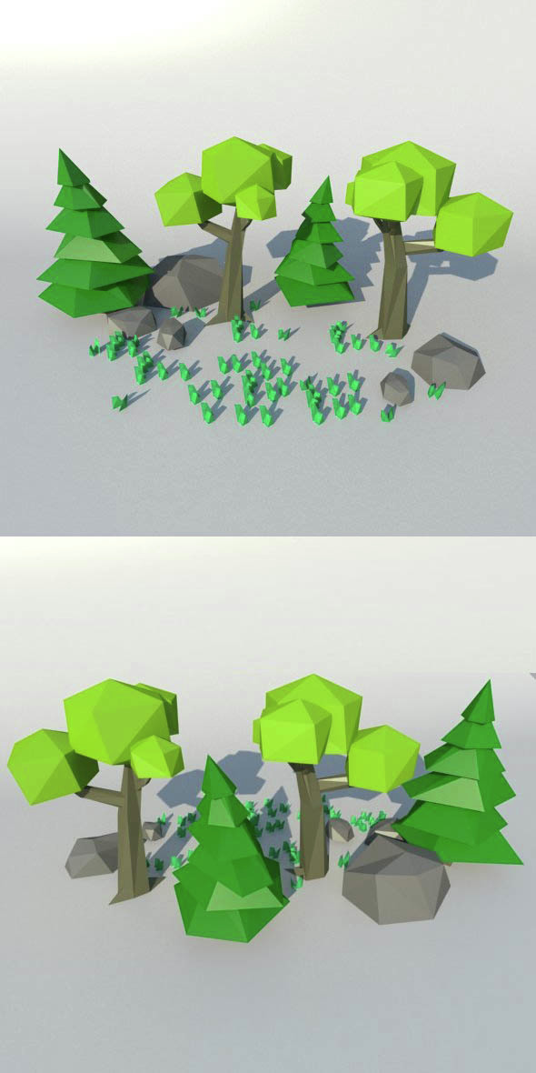 Low Poly nature set - 3DOcean Item for Sale