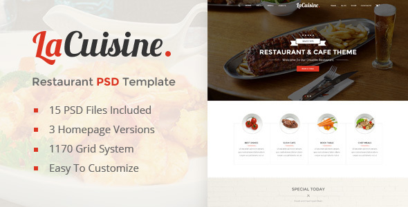LaCuisine | Restaurant PSD Template - Restaurants & Cafes Entertainment