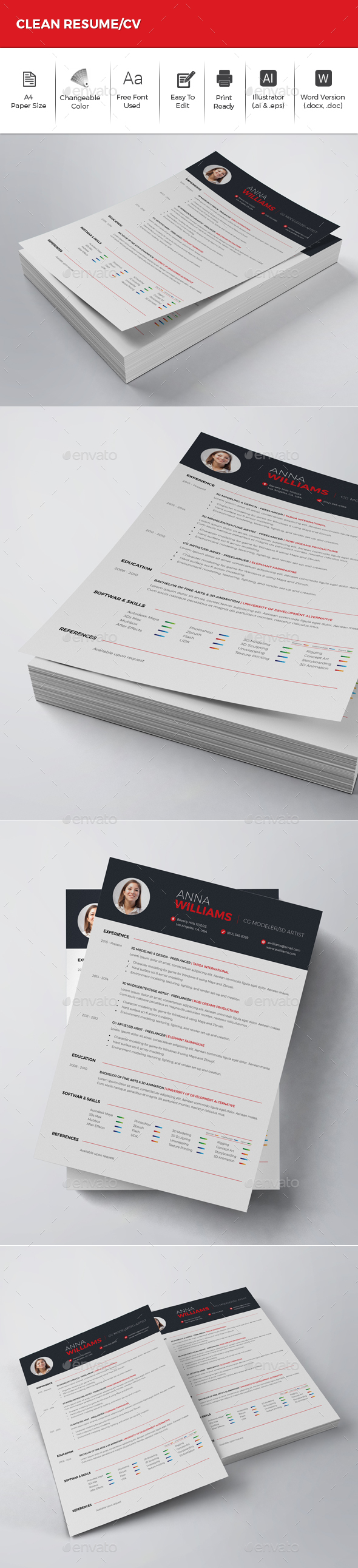 Clean Resume/CV - Resumes Stationery