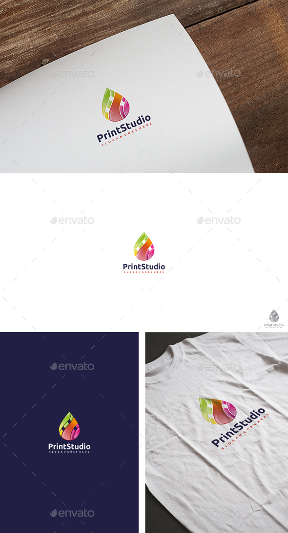 Print Colorful Drop Logo - Abstract Logo Templates