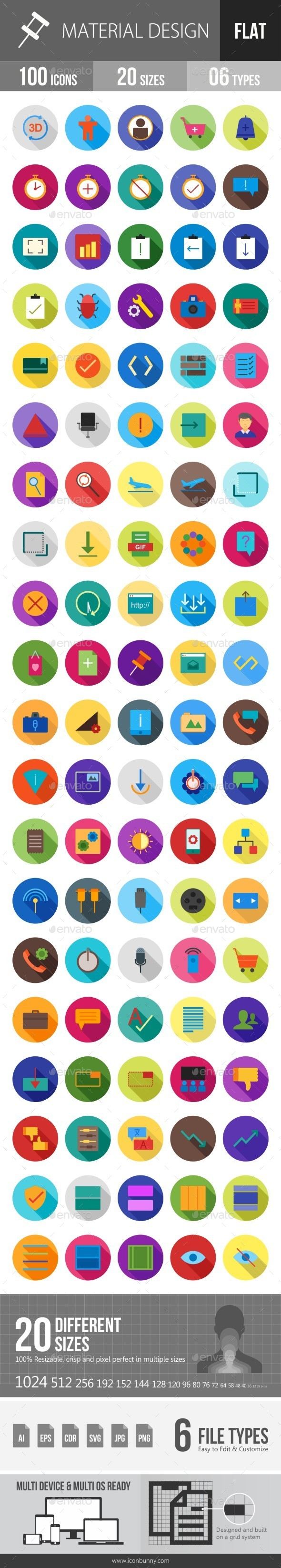 Material Design Flat Shadowed Icons - Icons