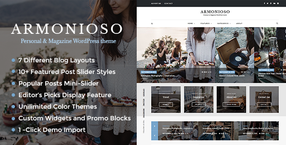 Armonioso – Personal & Magazine WordPress Responsive Blog Theme