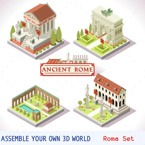 Roman Tiles Isometric - Buildings Objects