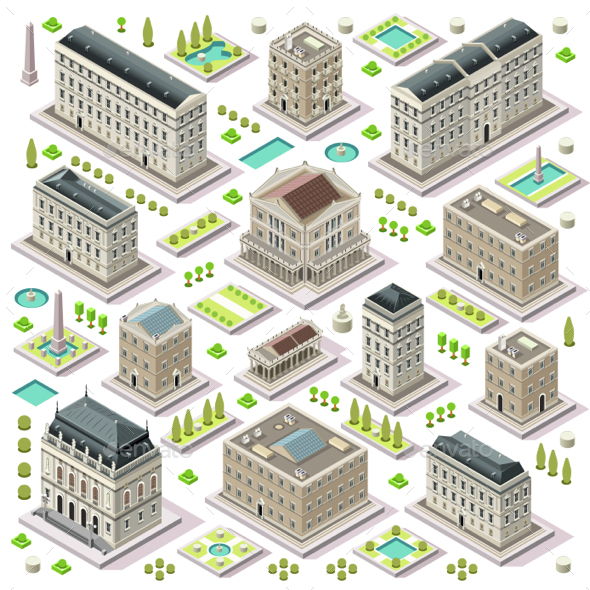 City Map Set 05 Tiles Isometric - Buildings Objects