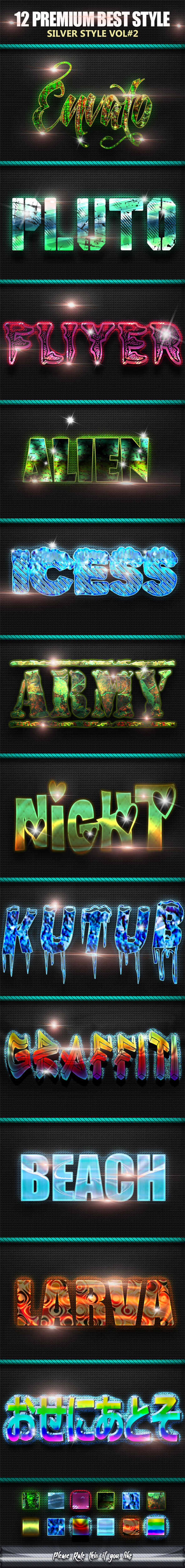 12 Premium Text Photoshop Styles vol 2 - Text Effects Styles
