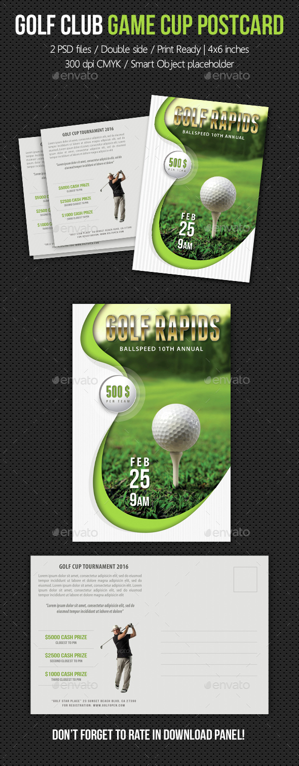 Golf Club Game Cup Postcard V02 - Cards & Invites Print Templates