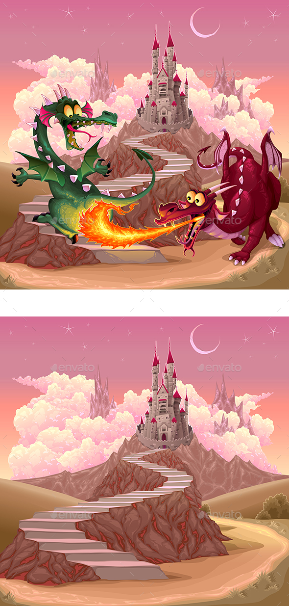 Dragons in a Fantasy Landscape with Castle - Monsters Characters