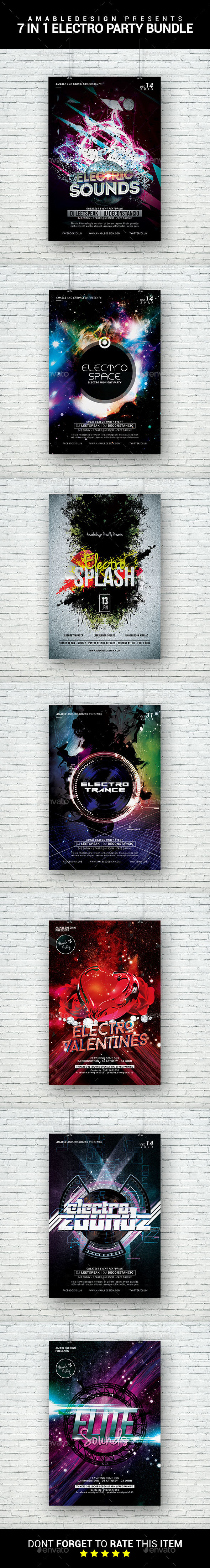 7 in 1 Electro Flyer/Poster Bundle - Clubs & Parties Events
