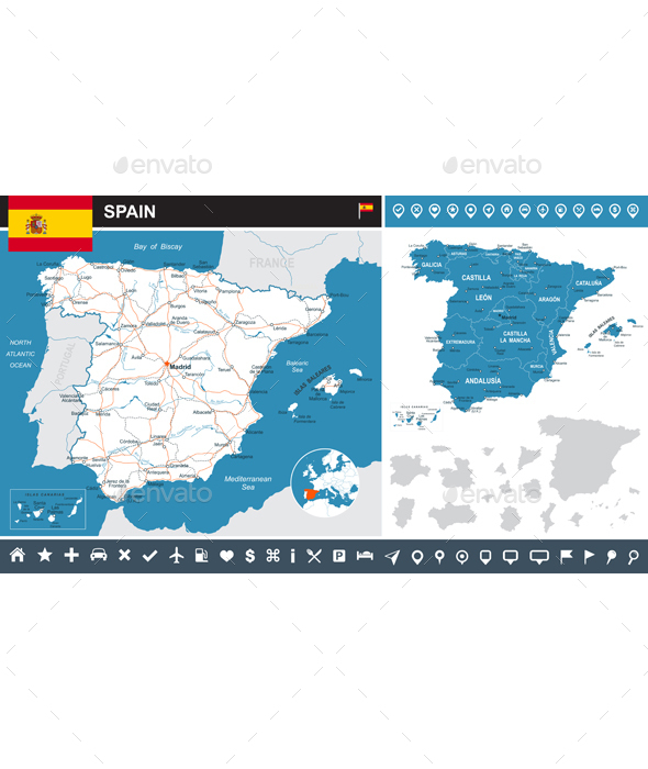 Spain Infographic Map Illustration - Travel Conceptual