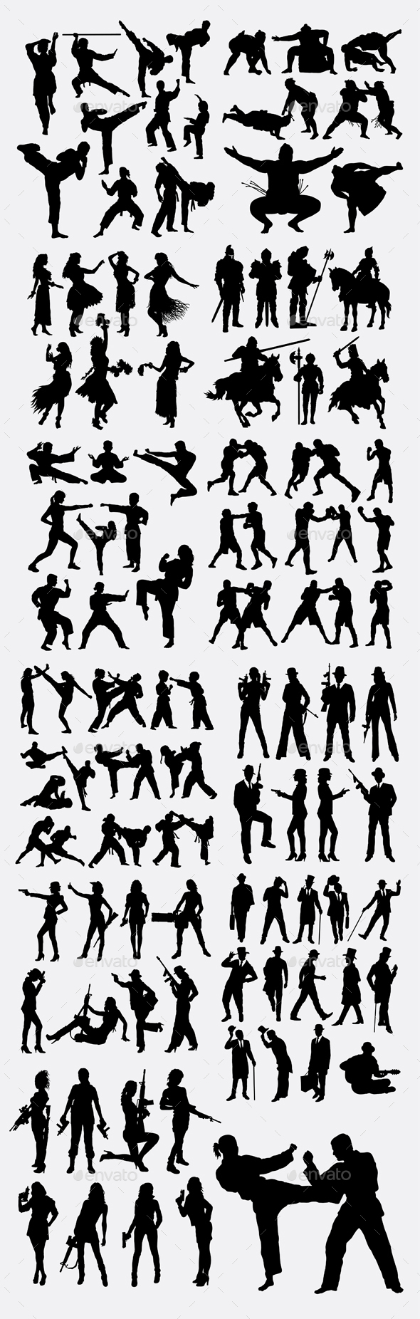 Man and Woman Activity Silhouettes - People Characters
