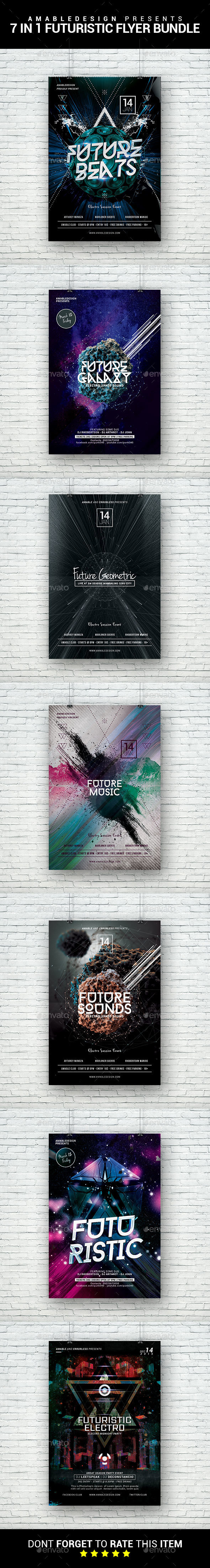 7 in 1 Futuristic Flyer/Poster Bundle - Clubs & Parties Events