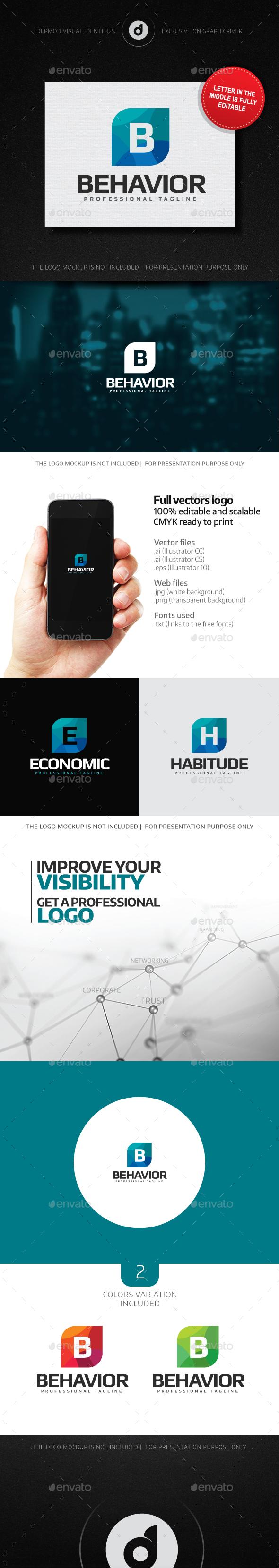 Behavior Logo (Editable letter) - Letters Logo Templates