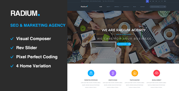 Radium - SEO /Digital Agency WordPress Theme - Portfolio Creative