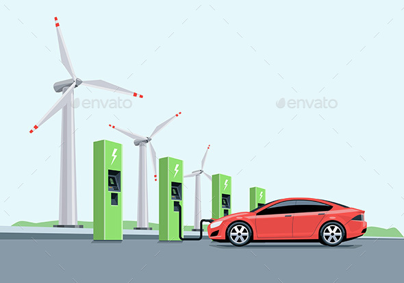 Electric Car Charging at the Charging Station in front of the Windmills - Technology Conceptual