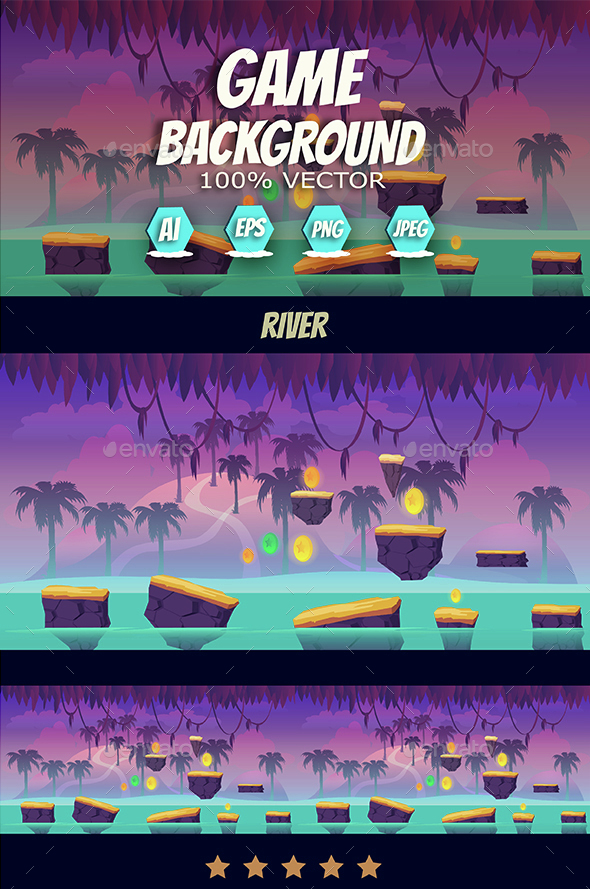 River Jump Game Background - Backgrounds Game Assets