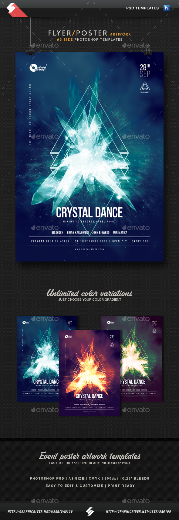 Crystal Dance - Progressive Party Flyer Template A3 - Clubs & Parties Events
