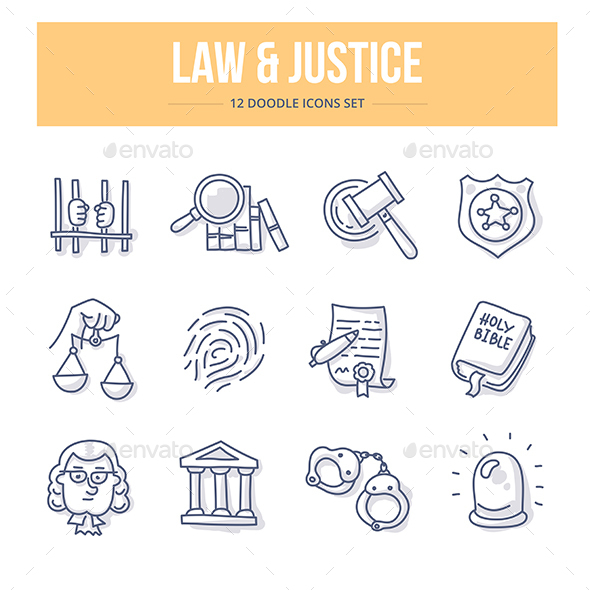 Law & Justice Doodle Icons - Miscellaneous Icons