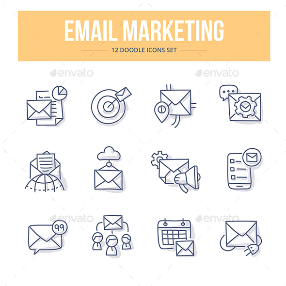 E-Mail Marketing Doodle Icons - Technology Icons
