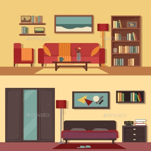 Flat Illustration Banners Set Abstract - Miscellaneous Vectors