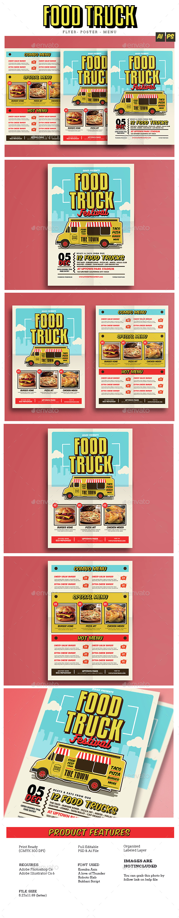 Pop Art Food Truck Flyer/Poster/Menu - Food Menus Print Templates