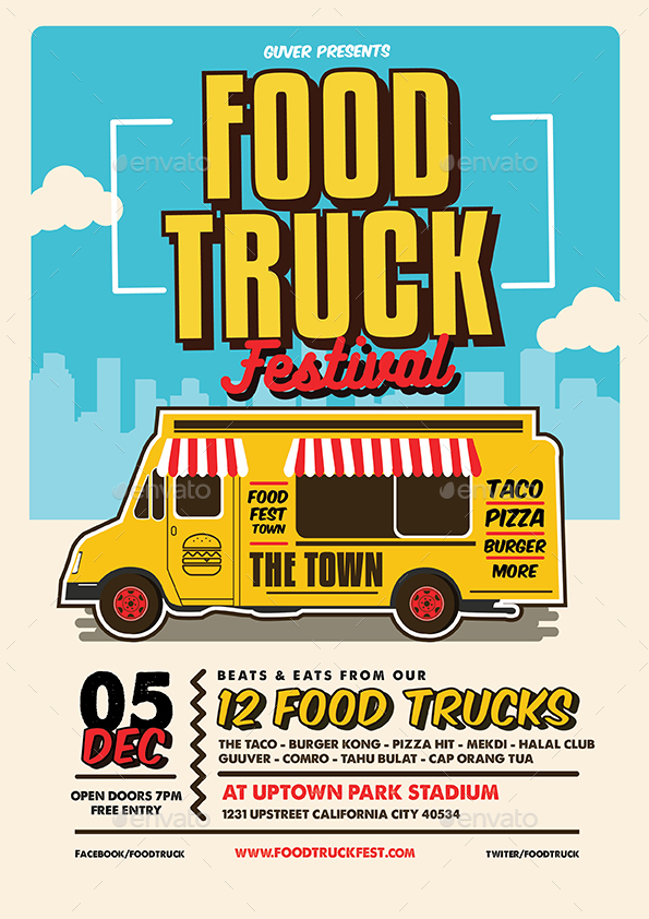 Pop Art Food Truck FlyerPosterMenu By Guuver GraphicRiver - Food truck flyer template