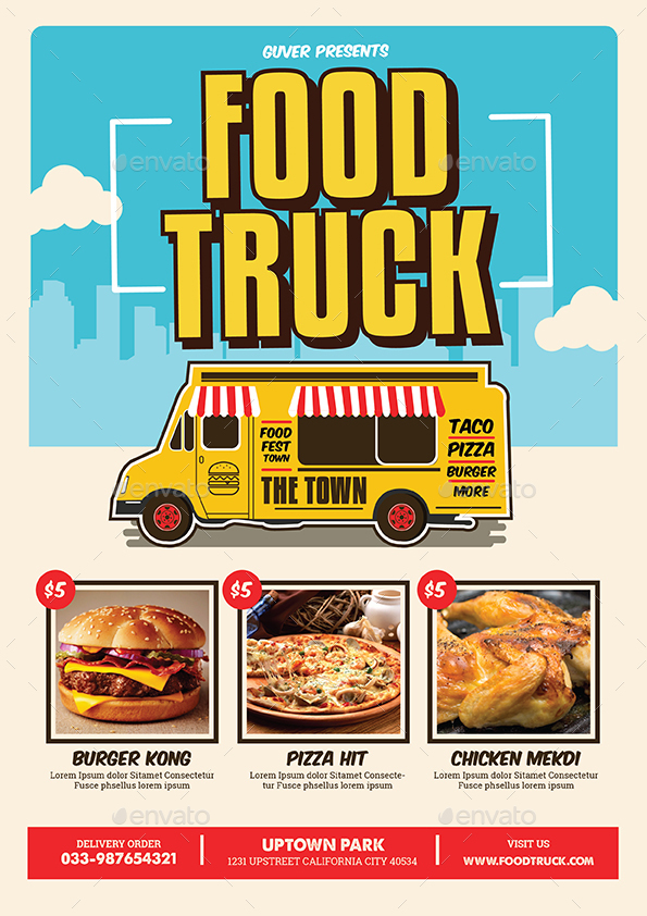 Pop Art Food Truck Flyer Poster Menu By Guuver Graphicriver