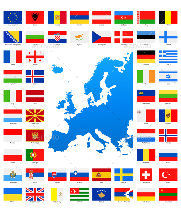 Map and Flags of Europe Collection - Travel Conceptual