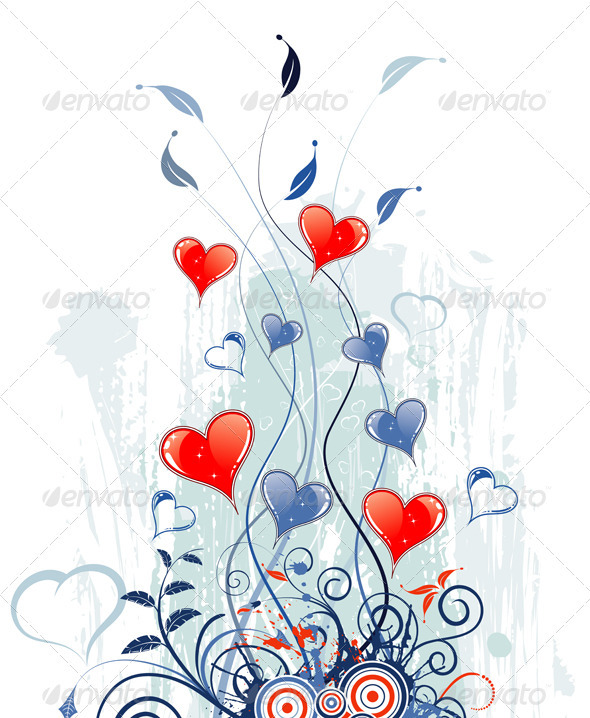 Valentines Day Grunge Background with Hearts - Valentines Seasons/Holidays