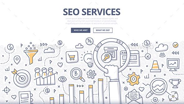 SEO Services Doodle Concept - Web Technology