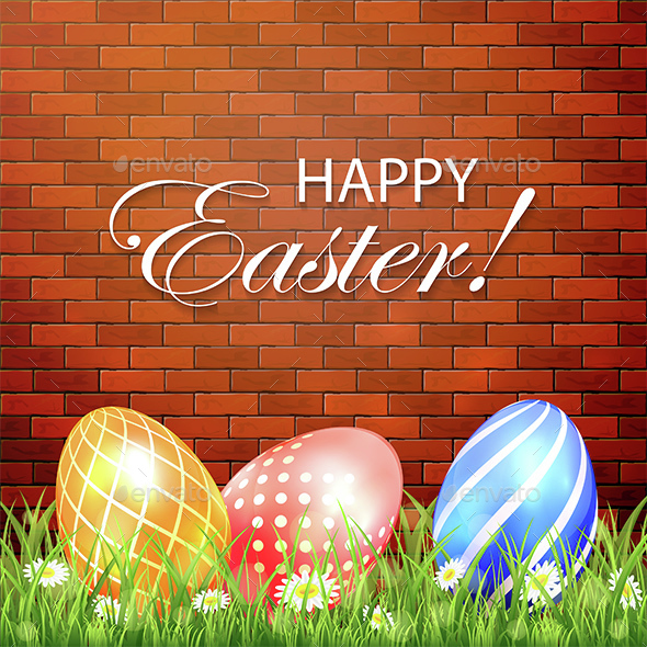 Easter Background with Eggs on Brick Background - Miscellaneous Seasons/Holidays