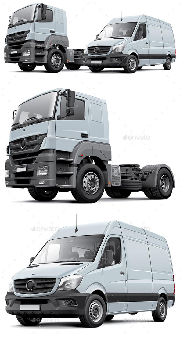 Two Commercial Vehicles - Man-made Objects Objects