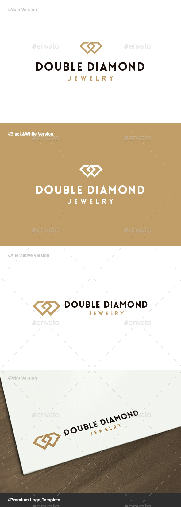 Double Diamond Jewelry Logo - Symbols Logo Templates