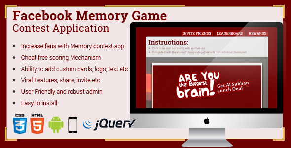 Facebook Memory Game Contest Application - CodeCanyon Item for Sale