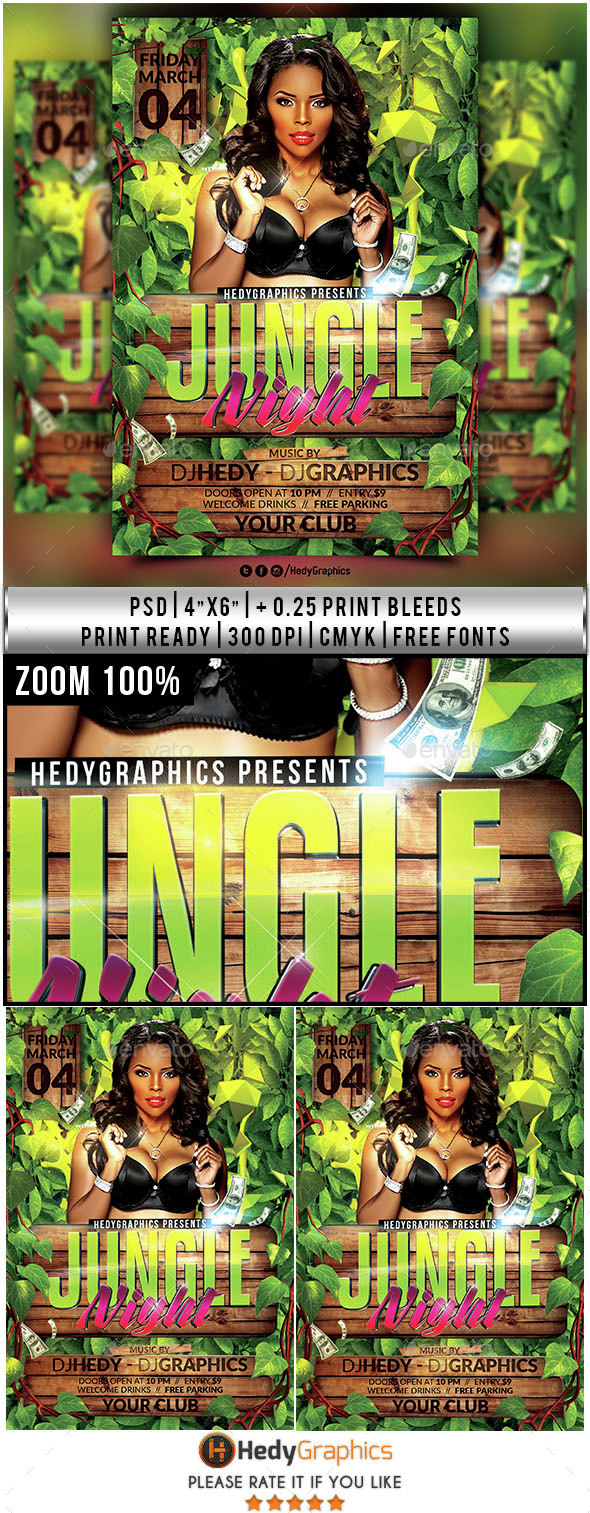 Jungle Night - Flyer Template - Clubs & Parties Events