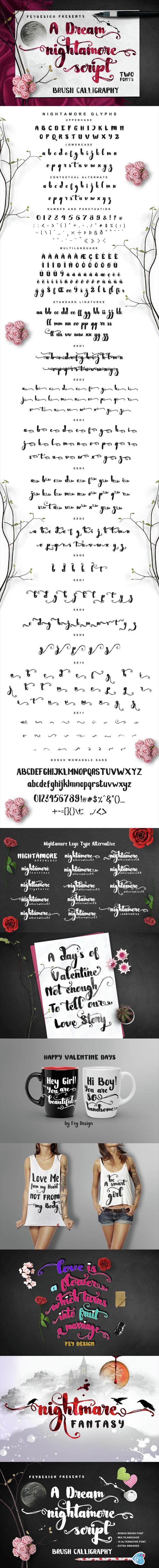 Nightamore Brush Calligraphy - Hand-writing Script