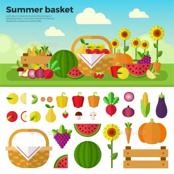 Basket Full Of Fruits And Vegetables - Food Objects