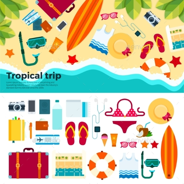 Kit For Tropical Trip On Sand - Travel Conceptual