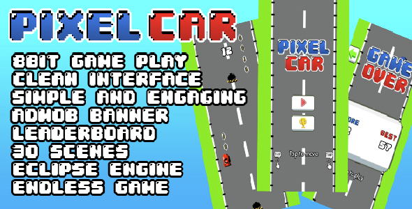 Pixel Car Endless Game + Admob + Leaderboard - CodeCanyon Item for Sale