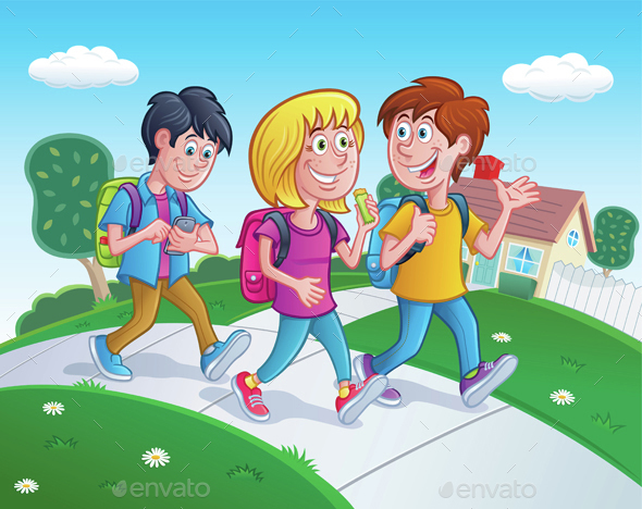 Kids Walking Home From School - People Characters