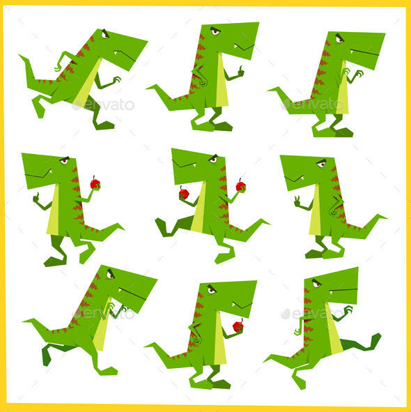 Green Dino In Action - Animals Characters
