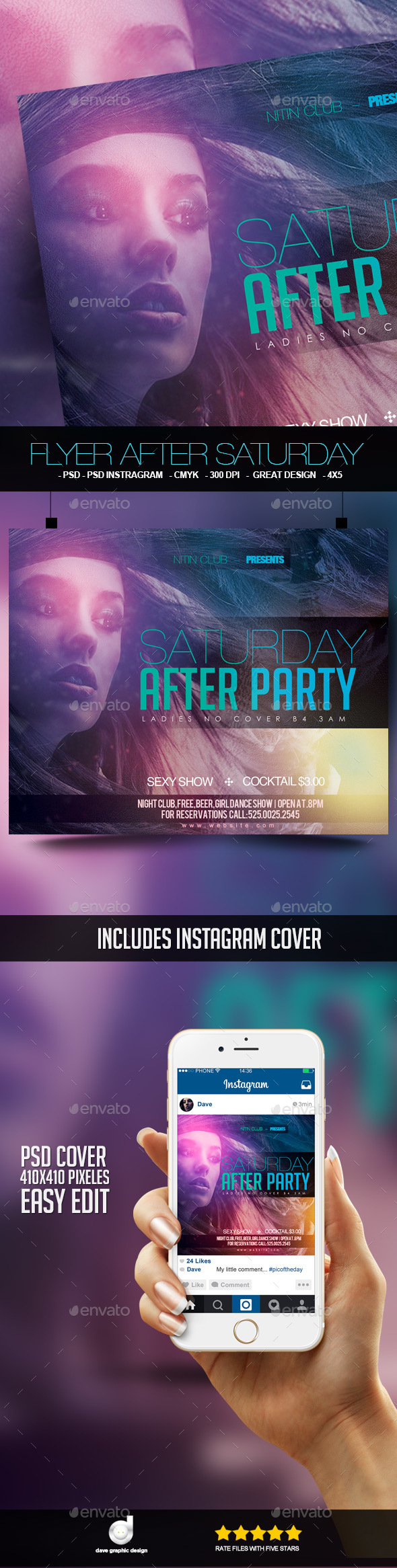 Flyer After Saturday Party - Clubs & Parties Events