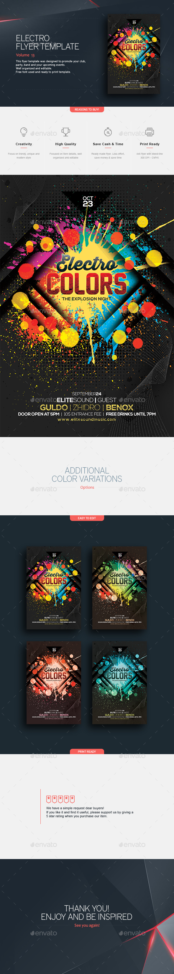 Electro Colors - Flyer Template - Clubs & Parties Events