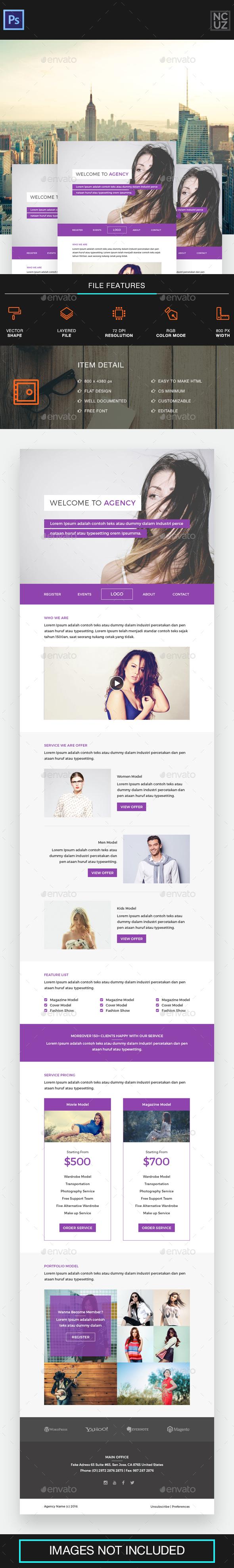 Model Agency E-newsletter - E-newsletters Web Elements