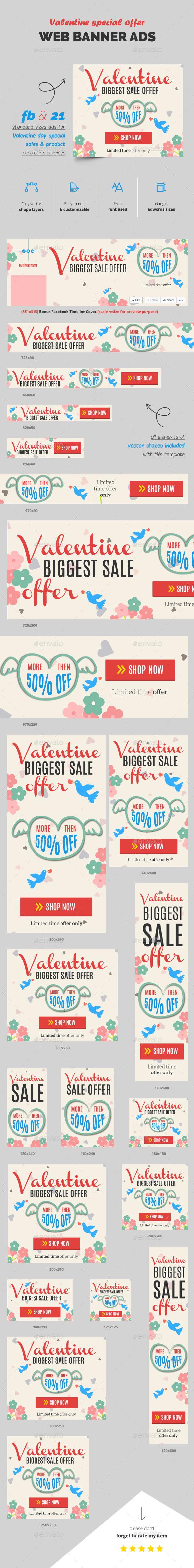 Valentine Sale Web Ads - Banners & Ads Web Elements