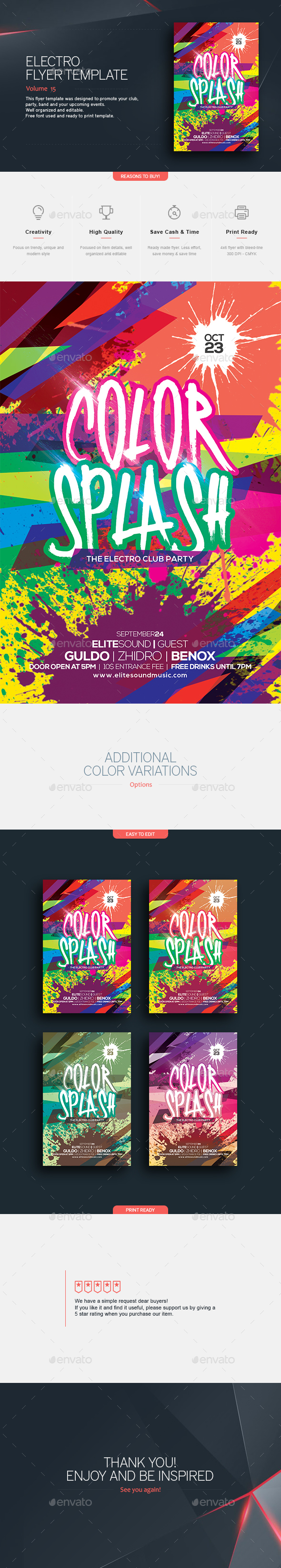 Color Splash V.3 - Flyer Template - Clubs & Parties Events
